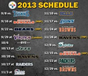 steelers 2013 schedule
