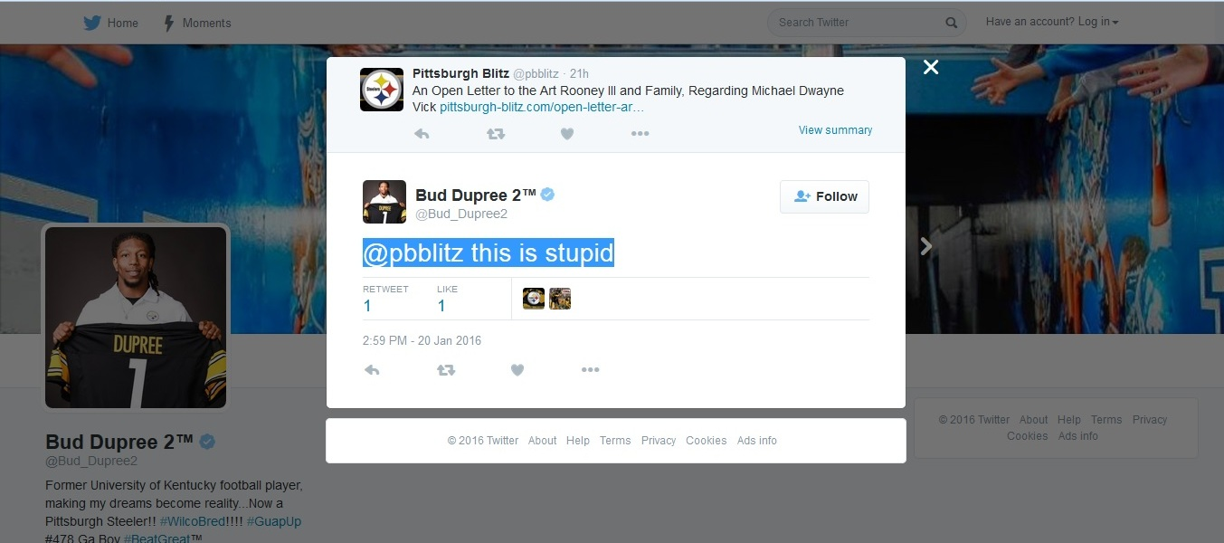 An Open Letter to Bud Dupree About My Open Letter